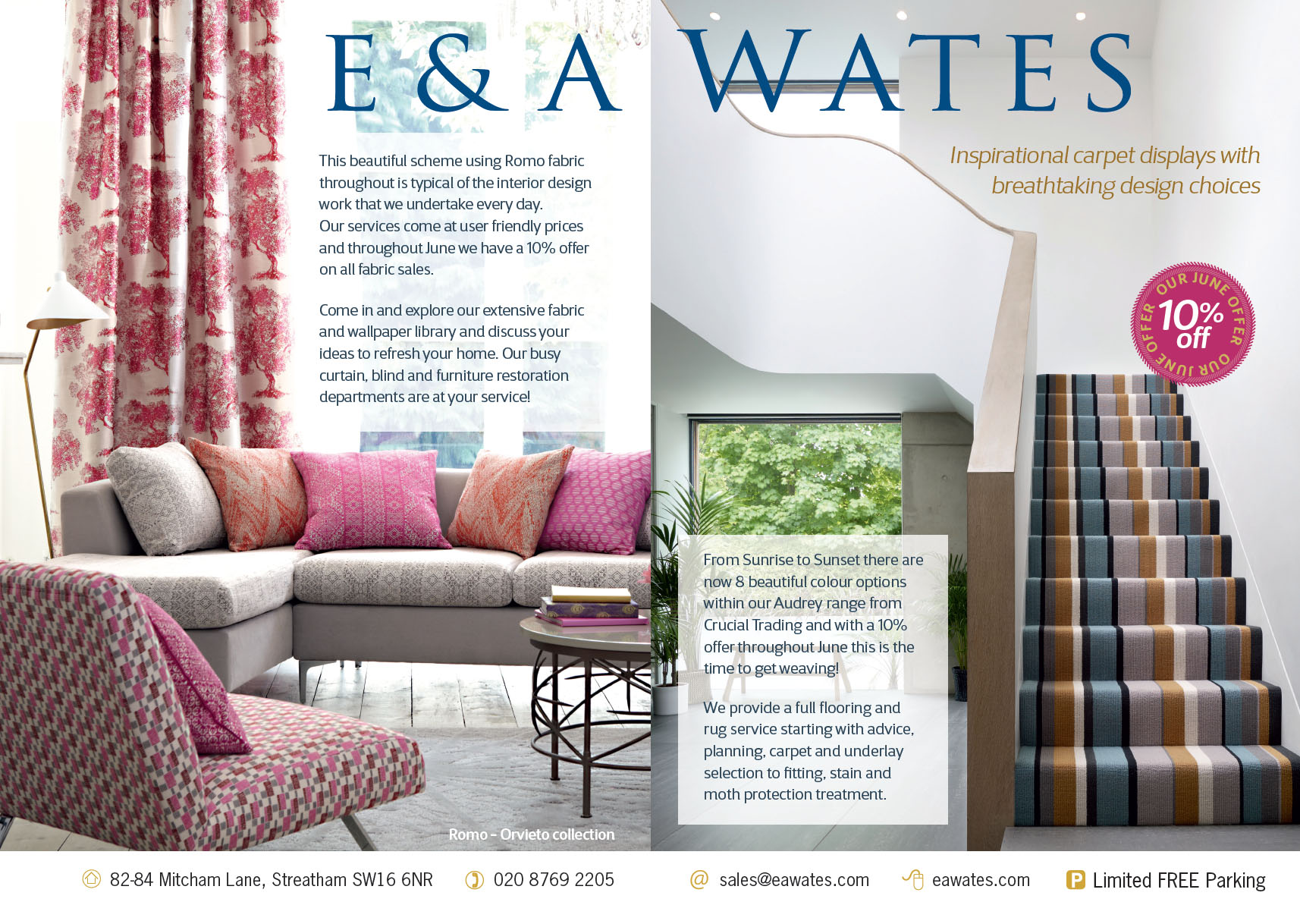 10% off fabric and carpet at E & A Wates in June 2016.