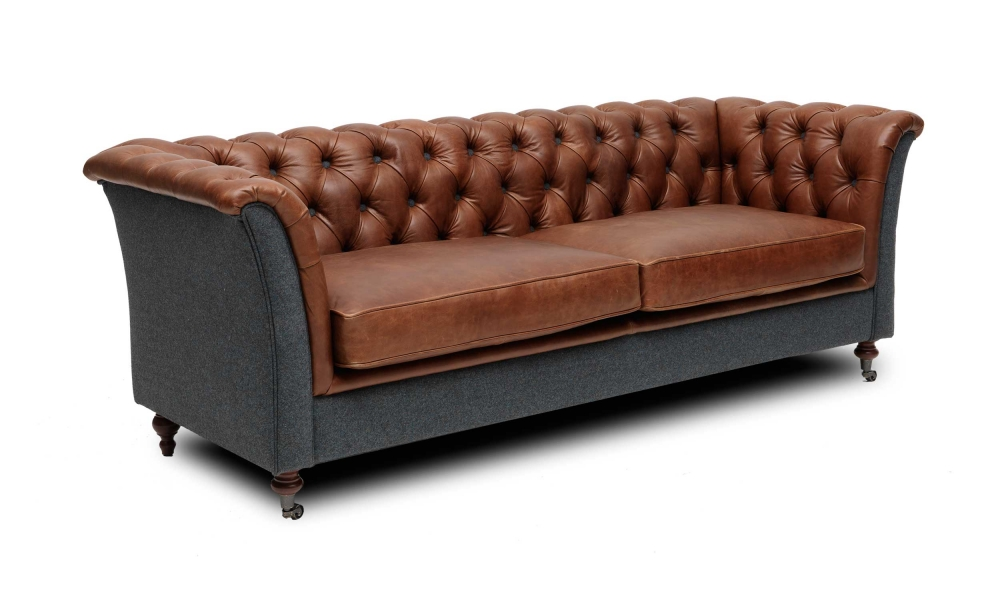 A new range of vintage inspired upholstery in leather and wool.