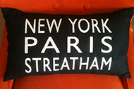 New York, Paris, Streatham scatter cushion exclusive to E & A Wates