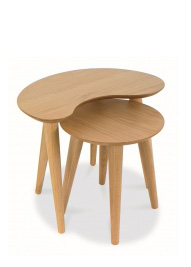 Set of two oak occasional tables, also available in walnut and with various colours
