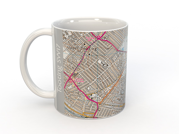 Tooting SW17, Streatham SW16 map on a mug, other products available (based on Ordnance Survey mapping).