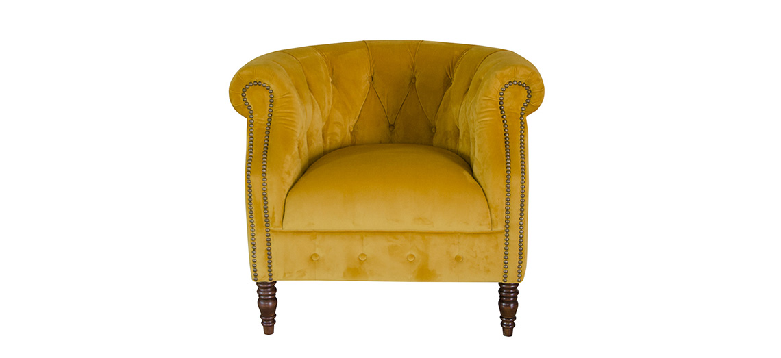 Jude chair in yellow velvet in E & A Wates sale 15% off
